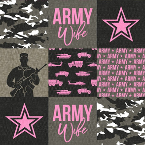 Army Wife - Patchwork fabric - Soldier Military - Bright Pink and camo - LAD19