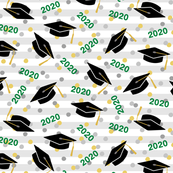 Tossed Graduation Caps with Green 2020, Gold & Silver Confetti (Small Size)