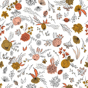 Vintage antique floral flowers and berries on white