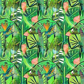 Boho Tropical bird of paradise large scale