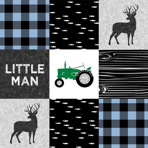 little man - baby blue and black (buck) quilt woodland (green tractor) C19BS
