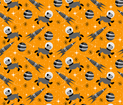 Bulldogs of the Future (Black and Orange) fabric by robyriker on Spoonflower - custom fabric