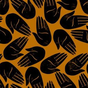 Hands Print mustard