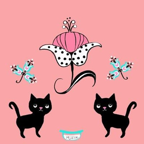 swedish kitties black on pink
