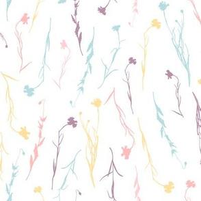 Soft pastel pink, mint, yellow and purple wild summer flowers cornflowers on white