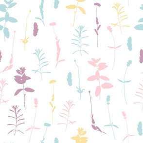 Pastel wildflowers summer poppies, lavender, herbs and leaves in  pink, light blue, yellow and purple on white