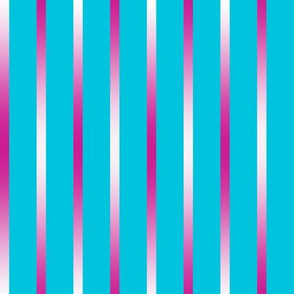 BYF3 - Dark Rose Pink Gradient Pinstripes on Turquoise