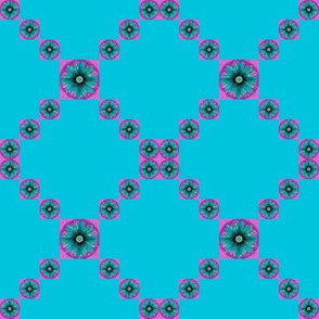 BYF3 - Small -  Floral Trellis Irish Chain in Turquoise and Dark Rose Pink