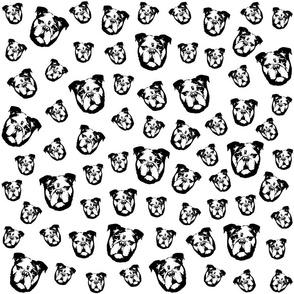 English Bulldog black and white fabrics