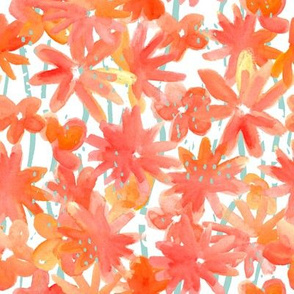 Watercolor orange pink  flowers with mint stripes and dots on white