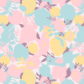 Pastel pink, mint blue, yellow and taupe abstract peonies, roses and leaves on light pink