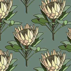 Proteas on blue - small