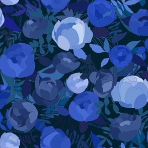 Navy blue,cobalt sapphire and purple abstract roses, peonies and leaves floral on dark blue