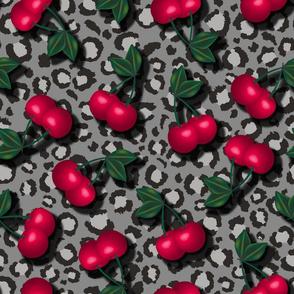 Rockabilly Cherries on Leopard Print - Lighter Grey