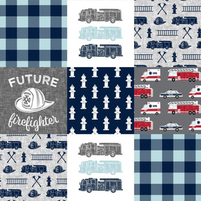 firefighter wholecloth - fireman patchwork - navy and grey with first responders block - future firefighter grey C19BS