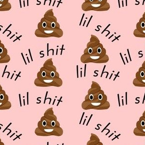 lil sh*t - poop, emoji, poop emoji fabric, sweary fabric - pink