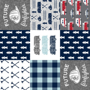 firefighter wholecloth - fireman patchwork - navy and grey with first responders block - future firefighter grey (90)C19BS