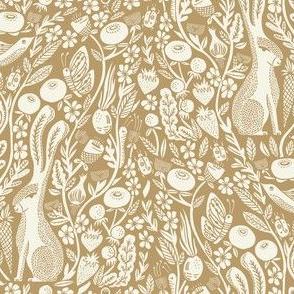 hare linocut fabric - botanical linocut wood block fabric, block print fabric, andrea lauren design - brown & cream - 3