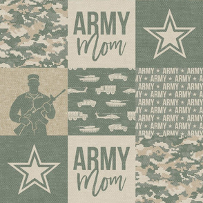 Army Mom - Patchwork fabric - Soldier Military - OG light  - LAD19