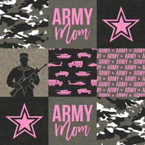 Army Mom - Patchwork fabric - Soldier Military - hot pink camo  - LAD19