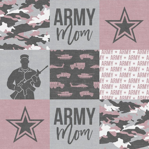 Army Mom - Patchwork fabric - Soldier Military - mauve camo  - LAD19