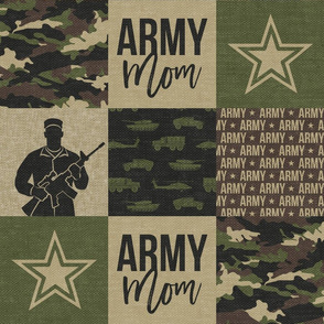 Army Mom - Patchwork fabric - Soldier Military - OG  - LAD19