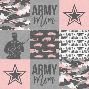 Army Mom - Patchwork fabric - Soldier Military - pink and grey camo  - LAD19