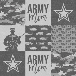 Army Mom - Patchwork fabric - Soldier Military - grey camo  - LAD19