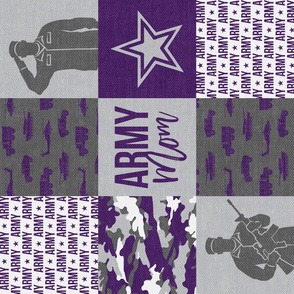 Army Mom - Patchwork fabric - SoldierMilitary - purple camo (90) - LAD19
