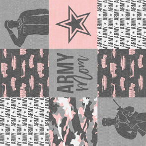 Army Mom - Patchwork fabric - Soldier Military - pink and grey camo (90) - LAD19