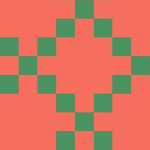 BYF1 - Single Irish Chain Quilt Squares  in Coral and Green