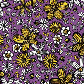 Flowers and Bees (Plum)