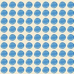 Mod Dot  / Polka-Dot Blue on off white