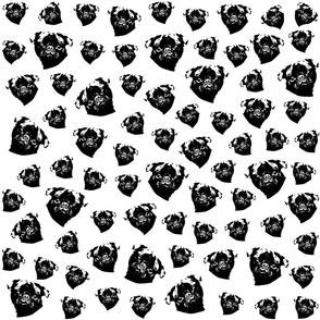 Pug Dog black and white fabric