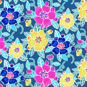 Painterly floral-blue