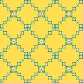 BYF4 - Small - Bull's Eye Floral Trellis aka Single Irish Chain  in Goldenrod Yellow and Turquoise