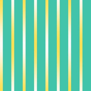 BYF4 - Cool Yellow Gradient Stripes on Turquoise Green