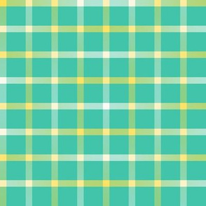 BYF4 -  Open Weave Window Pane Plaid in Yellow Gradient and Turquoise Green