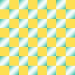 BYF4 - Gradient Fill Checks in Sunny Yellow and Turquoise Green