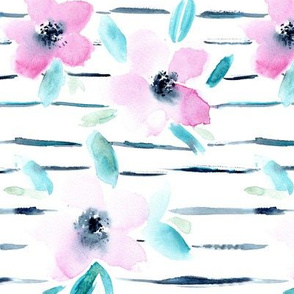 Watercolor florals with stripes || tender pattern for baby girls