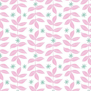 Cascading Leaves in Pink and Mint
