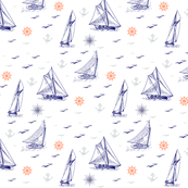 sailboats and windroses, navy blue, gray and coral on white