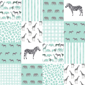Safari cheater quilt - mint, safari quilt, gender neutral nursery, nursery quilt, mint nursery, zebra, zebra quilt, cute animals, baby quilt