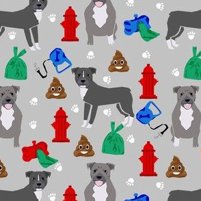 pitbull dog walker fabric - dog walker fabric, hydrant, poo, dog poop, poop, funny, cute dog fabric - grey