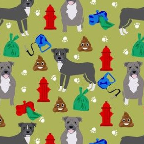 pitbull dog walker fabric - dog walker fabric, hydrant, poo, dog poop, poop, funny, cute dog fabric - green