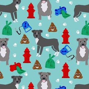 pitbull dog walker fabric - dog walker fabric, hydrant, poo, dog poop, poop, funny, cute dog fabric - blue