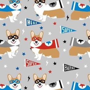 corgi superdog fabric, corgi superhero fabric, superhero dog fabric, cute dog, dog fabric, - grey