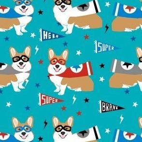 corgi superdog fabric, corgi superhero fabric, superhero dog fabric, cute dog, dog fabric, - blue