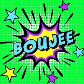 7 boujee elite rich high class bourgeois upper pop art comic book explosion stars burst explode rupaul's drag race RPDR catchphrases culture influencer quotes slang cultural words internet social media vintage retro drag queens homage comic strips speech