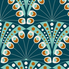 Art Deco peacock feathers - sea green and caramel